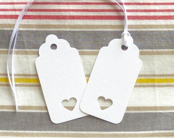100  white luggage tags heart punched scalloped favour tags paper labels wedding wish tags cutlery place tags