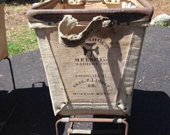Vintage Industrial Canvas Bin Basket from Boston