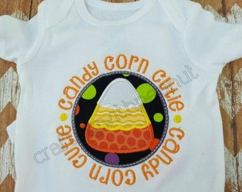 Personalized candy corn cutie onesie or shirt, halloween shirt, candy corn