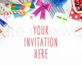Multi-Colored Party Tabletop / Red, Blue, Green, Pink / Styled Stock Background / Product Mockup Photograph / High Res File #68