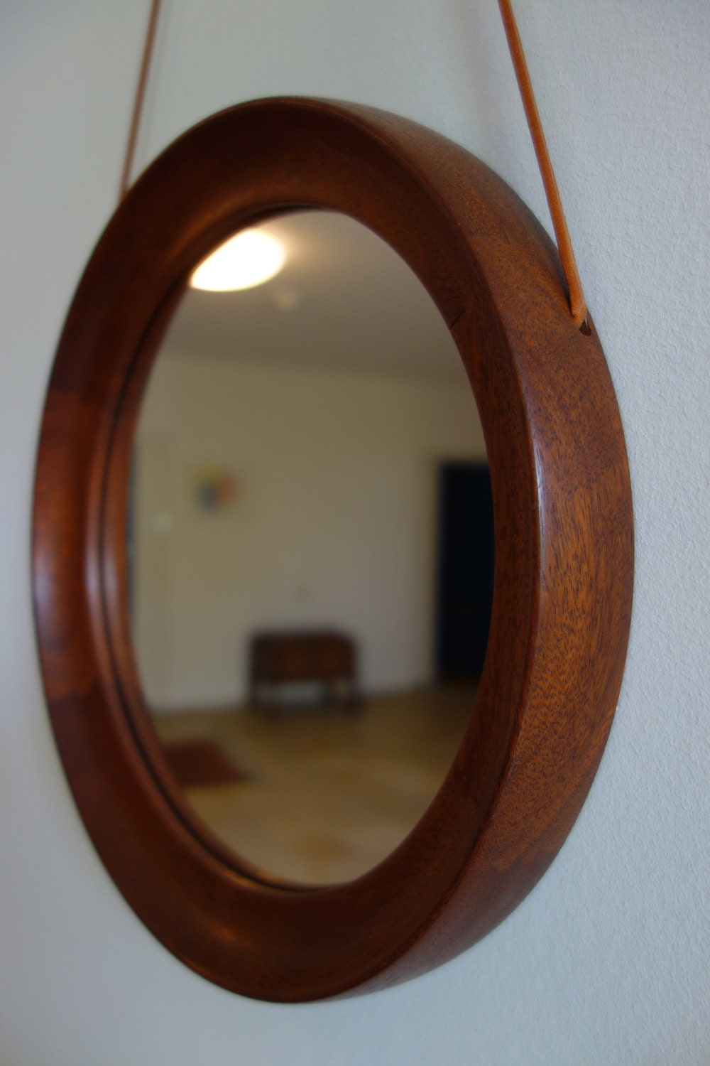 Round Teak Mirror Wood Wooden 1960s Mid Century Modern Dutch
