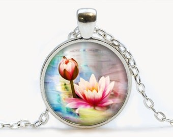 Pink Lotus pendant. Flowers necklace. Flowers jewelry. Birthday gift