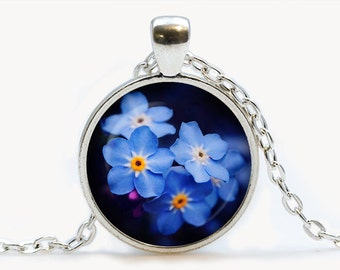 Blue Flowers Glass pendant. Flowers Necklace. Flowers jewelry, birthday gift