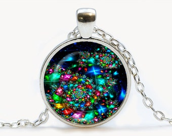 Fractal Glass pendant. Fractal  necklace. Fractal jewelry, birthday gift