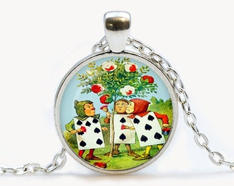 Alice in Wonderland Pendant. Alice Necklace. Illustration jewelry. Birthday gift