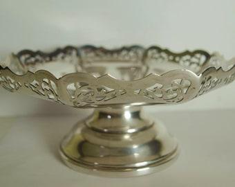 Vintage Antique Sterling Silver Pedestal Bowl Or Comport - 348g - Sheff. 1939