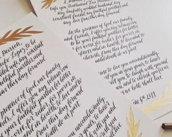 Custom Calligraphy Wedding Vows, Watercolor Wedding Vow Set, Calligraphy Wedding Vows, Wedding Vow Calligraphy