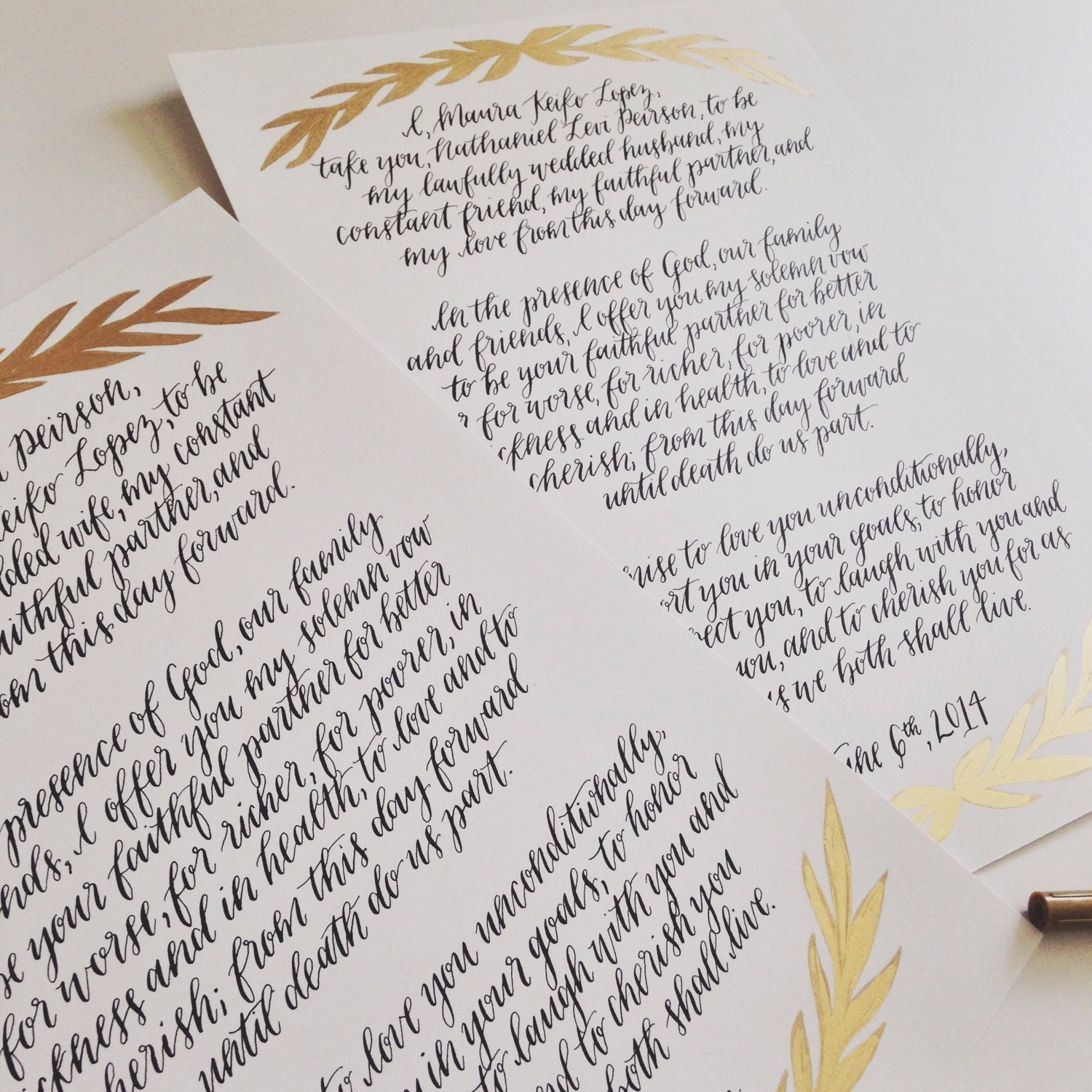 Custom calligraphy wedding vows watercolor vow set