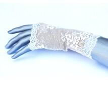 Champagne ivory Lace Fingerless Gloves Wedding Bride Costume Halloween Fishnet Mesh