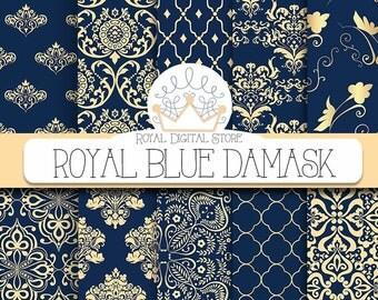 """Damask Digital Paper: """"Royal Blue Damask"""" with royal blue damask, dark azure damask, gold , blue damask digital paper"""