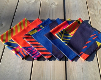 Cloth napkins made from Marimekko fabric, modern Scandinavian table decor, picnic dining fabric napkin set
