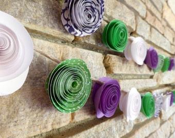 Paper Flower Garlands - Purple, White & Green