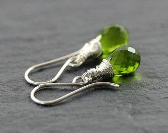 Peridot Green Quartz & Sterling Silver Earrings. Wire Wrapped Teardrop Earrings. Dainty Drop Earrings. Semi Precious Gemstone Jewellery