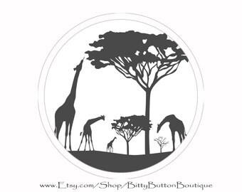 Giraffe Safari - 3 Inch Button
