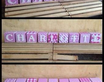 Personalised Wooden Name Blocks - FIVE BLOCKS