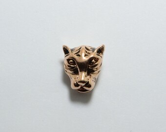 SALE! 15pcs Tiger Head Beads in Antique Rose Gold, Animal, Zoo, Leopard Beads, Side Drilled Metal Beads #SD-S7743