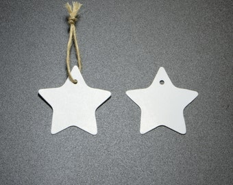 100pcs Star Shaped Hang Tags, White Card, Blank Merchandise Tags, Price Tags, Includes Free 32ft Jute Strings in a Bobbin #SD-S7771