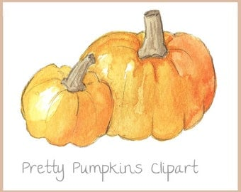 Thanksgiving watercolor Pumpkins Clipart. menu cards, greeting cards, cute gift tags & many more!