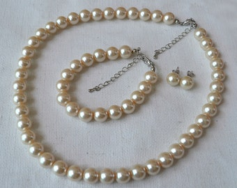 champagne pearl set,10mm champagne pearl necklace,champagne pearl bracelet and champagne pearl earrings set, glass pearls champagne bead set