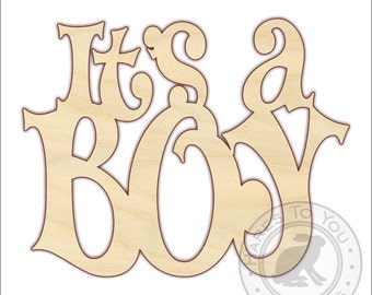 It's a Boy Unfinished Wood Sign Cutout - 170287 - Wooden Baby Shower Decoration - Hospital Door Sign - Unfinished Wood