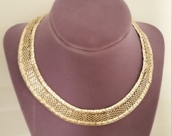 Goldtone Mesh Collar Necklace