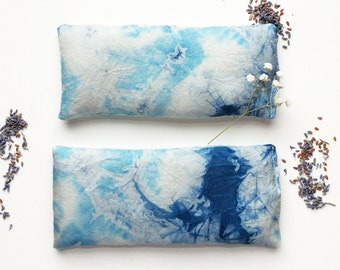 Hand Dyed Indigo Eye Pillows with Lavender & Flax Seed