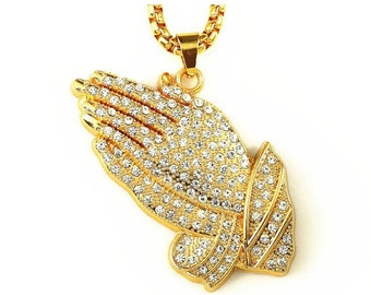 """Mens Gold filled Iced Out Praying Hands Pendant & 30""""inch Rope Chain Necklace Prayer Jesus Labmade HIPHOP BLING Necklace"""