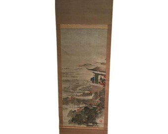 Vintage Japanese Painted Hanging Scroll