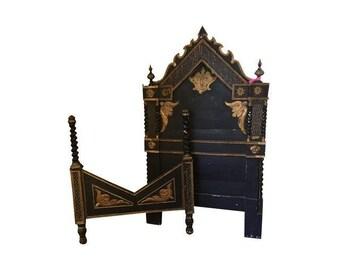 Circa 1830 Italian Baroque Headboard and Footboard