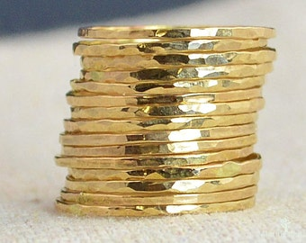 Set of 15 Super Thin 14k Gold Stackable Rings, 14k Gold Filled, Stacking Rings, Simple Gold Ring, Hammered Gold Rings, Dainty Gold Ring