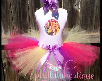 Tangled Rapunzel Birthday Tutu set any size available 12m to 8y FREE Headband