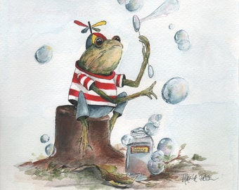 """8 x 10  Print of Original Art Titled """"Blowing Bubbles"""" by Pamela Price is a Perfect Addition to a Kids Room or Nursery."""
