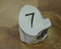 Set of 6 White Birch Table Number Holders, Natural White Birch Table Number Holders