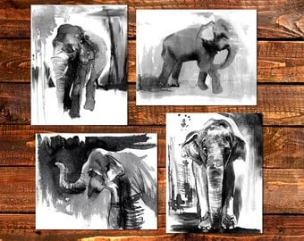black and white art, set of prints, Elephant Prints, african art, set of 4 prints, giclee prints,  husband gift african decor, Free Shipping