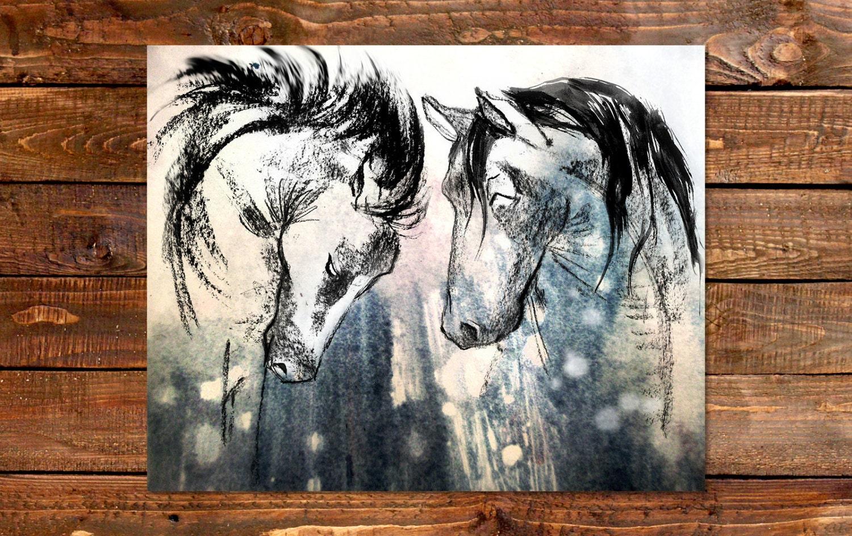Drawings Boho Art Rustic Country Decor Horse Art Prints