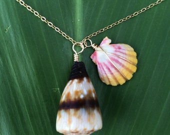 Hawaiian bubble cone and sunrise shell necklace