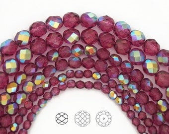 Crystal Pink Flare AB coated, Czech Glass Fire Polished Round Faceted Beads, 16 inch strands, in 4mm, 6mm and 8mm size, Aurore Borealis