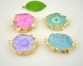5pcs Sun Flower shape Druzy Agate Connector Beads in Mixed color, Gold Plated Drusy Gemstone Connectors Pendants, For Jewelry Making