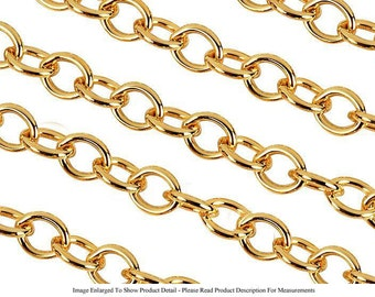 22k Gold Plated Slight Oval 6mm Jewelry Cable Chain Necklace (Sold by the Foot) (Free Shipping USA)