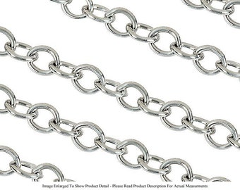 Sterling Silver Plated 5mm Oval Jewelry Cable Chain For Necklaces Bracelets (Sold by the Foot) (Free Shipping USA)