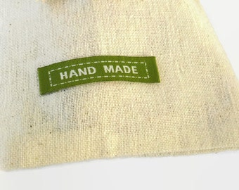 x15 Green Handmade Sewing Labels, *NOT Customizable*, Green Sew On fabric Labels 45mmx10mm, Linen Labels REF#GR15HD
