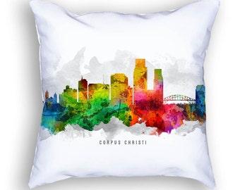 Corpus Christi Skyline Pillow, 18x18, Corpus Christi Cityscape, Corpus Christi Decor, Cushion, Home Decor, Gift Idea, Pillow Case 12