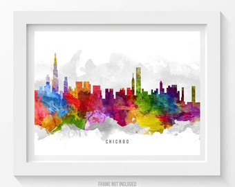 Chicago Illinois Skyline Poster, Chicago Cityscape, Chicago Art, Chicago Decor,  Home Decor, Gift Idea 13