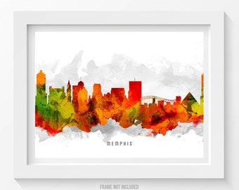 Memphis Tennessee Skyline Poster, Memphis Citscape, Memphis Art, Memphis Decor, Home Decor, Gift Idea 15