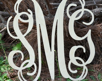 Wall Decor Wooden Monogram, Various Size Listing, Ready to be painted, Large Wood Letters Connected, Unfinished Wood Monogram