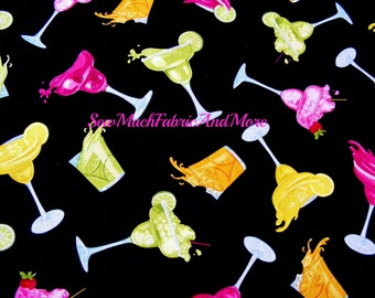 Mixed Drinks Fabric~by the 1/2 yd~Margaritas~fruit drinks~glitter~Timeless Treasures~cotton~GM-CM1772