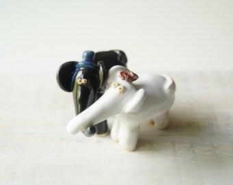 Wedding Cake Topper Elephant Ceramic Cake Topper Anniversary Topper