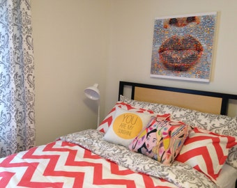 Coral Chevron and Grey and White Damask College Dorm Bedding Set with Duvet and Matching Sham - Many Colors Available