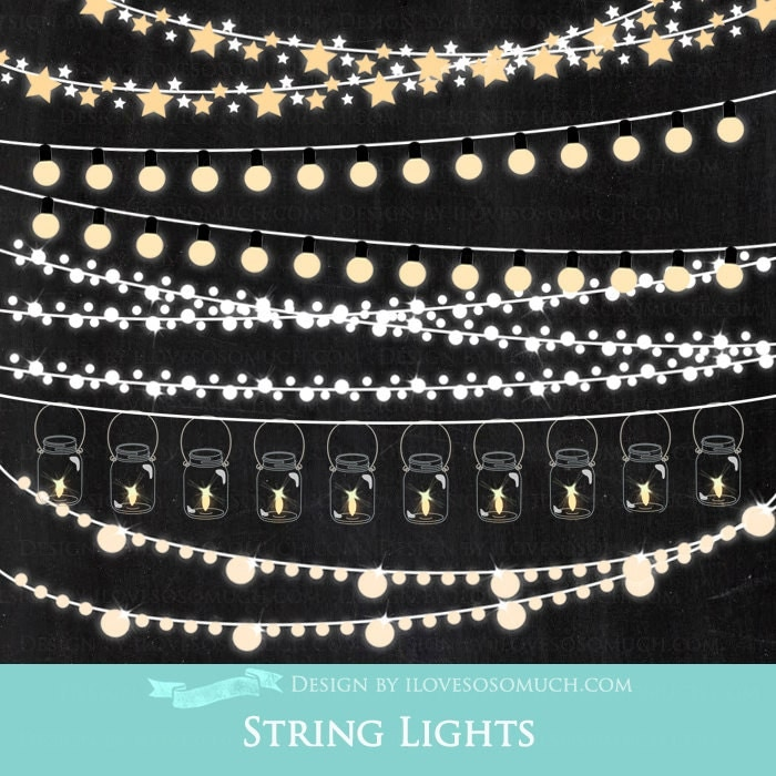 String Lights Photo Clips : String Lights Clip Art Instant Download CA022