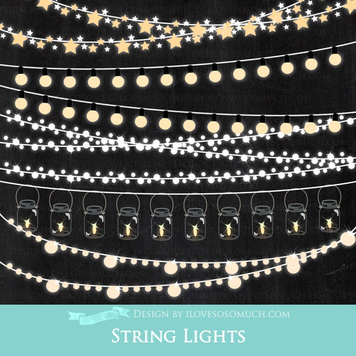 Clips For String Lights : String Lights Clip Art Instant Download CA022